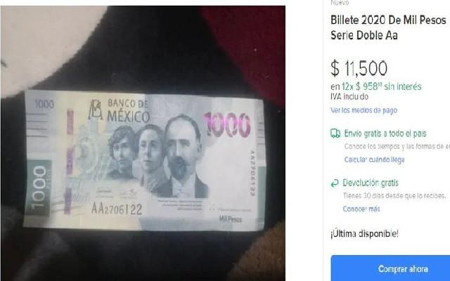 Billetes de mil pesos que se cotizan hasta en 13 mil pesos