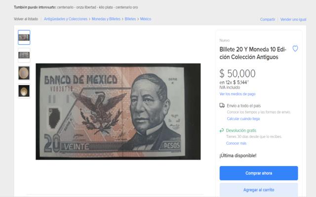 Billetes de 20 pesos de colección