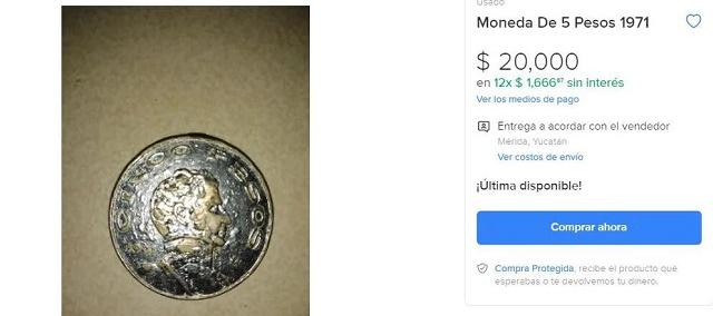 Esta moneda fue puesta en circulación en 1971ñada en, acu cobre y níquel, y tiene una denominación de cinco pesos.