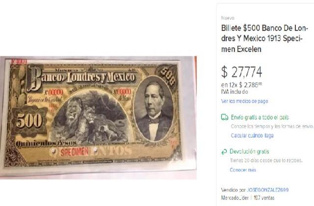 Billete antiguo del Banco de Londres y México, cuánto vale