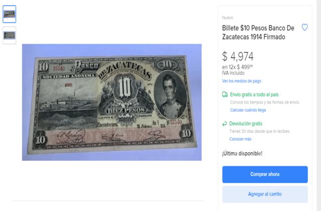 billete de Zacatecas cuánto vale