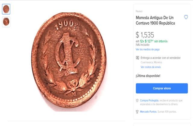 Moneda de un centavo antiguo cuánto vale