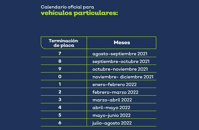 Calendario verificar septiembre Guadalajara