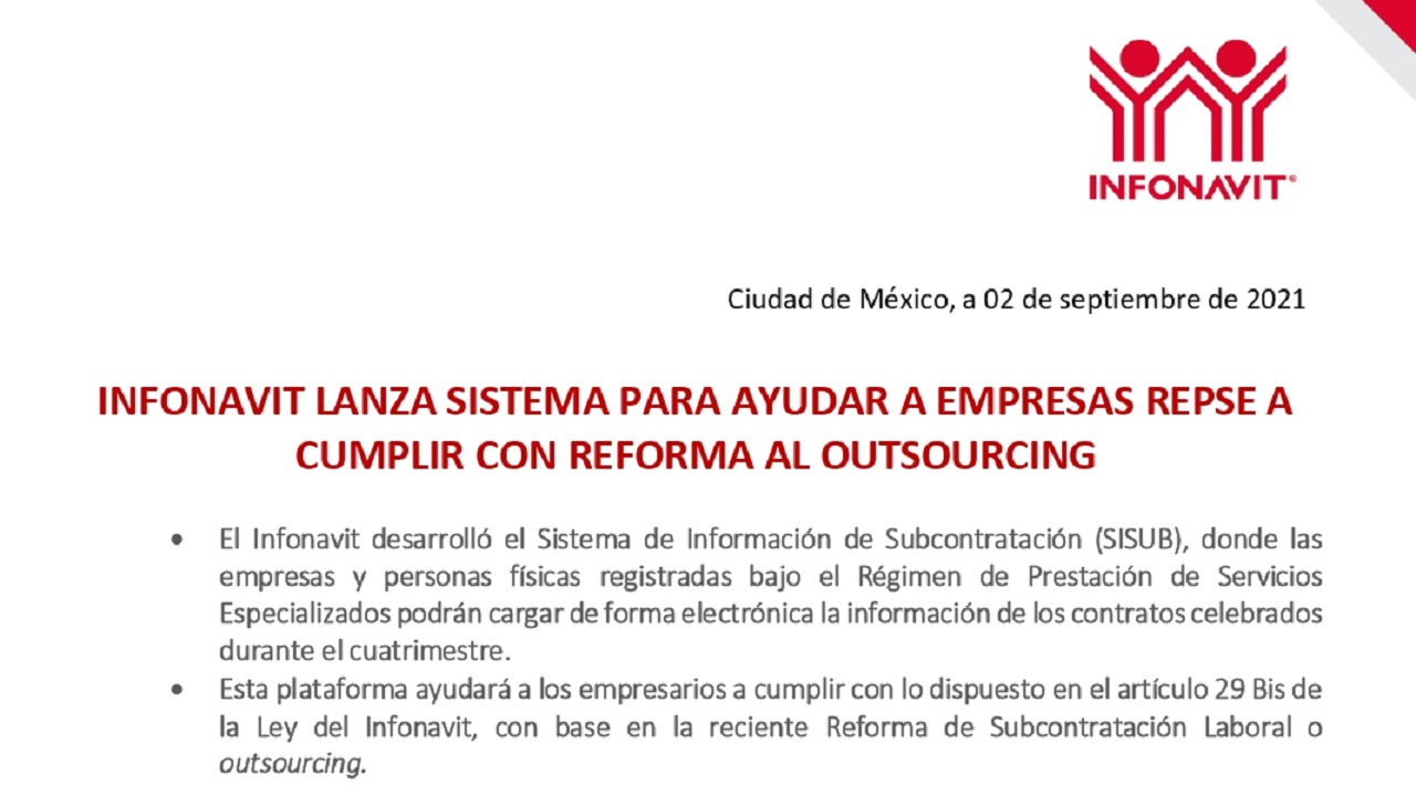 SISUB de Infonavit ayuda a empresarios a cumplir con reforma del outsourcing