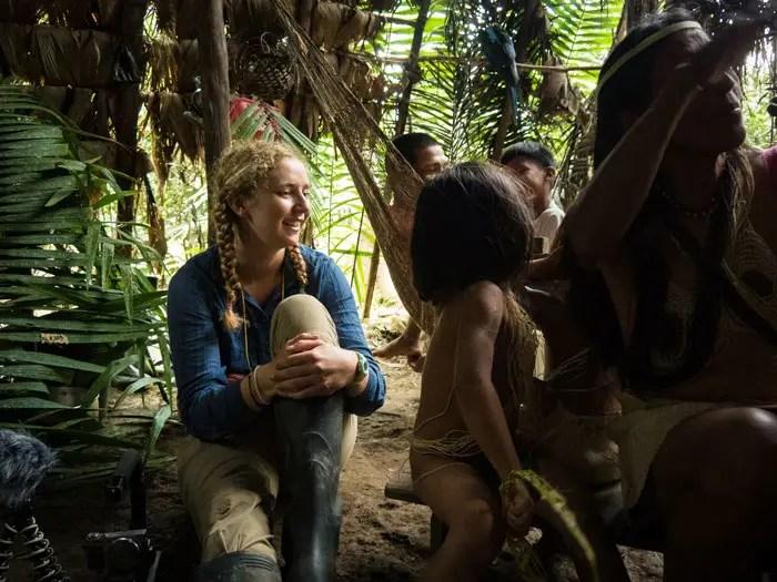 Charlotte Jacquet chez les indiens Waoranis en Amazonie Equatorienne
