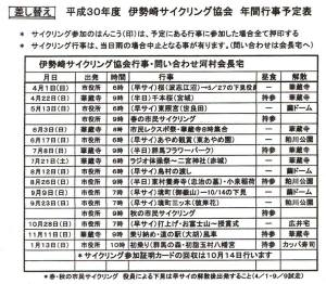 伊勢崎サイクリング協会行事予定