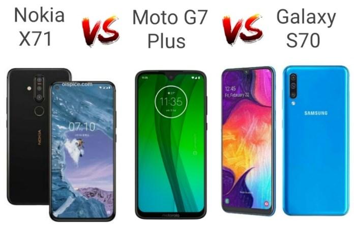 Nokia X71 vs Moto G7 Plus vs Samsung Galaxy A70