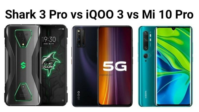 Black shark 3 Pro vs Vivo IQOO 3 vs Mi 10 Pro