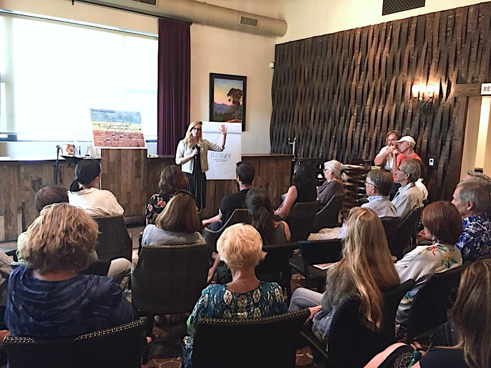 Cheryl Dahle of FlipLabs presents to Ojai residents at Topa Mountain Winery. Photo by Ray Powers.
