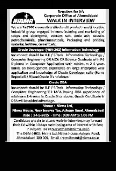 Nirma Recruitment 2015