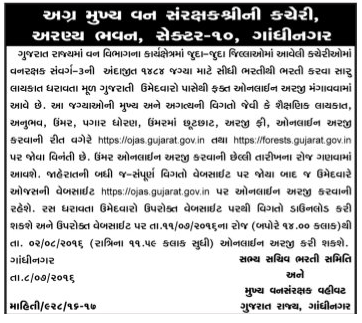 Gujarat Forest Department Bharti 2016