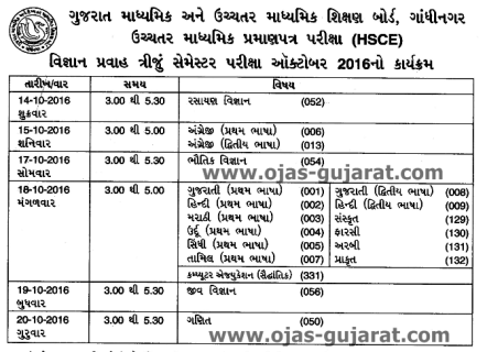 GSEB Exam Time Table 2016
