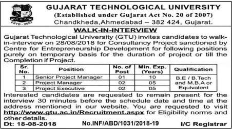 GTU Recruitment 2018