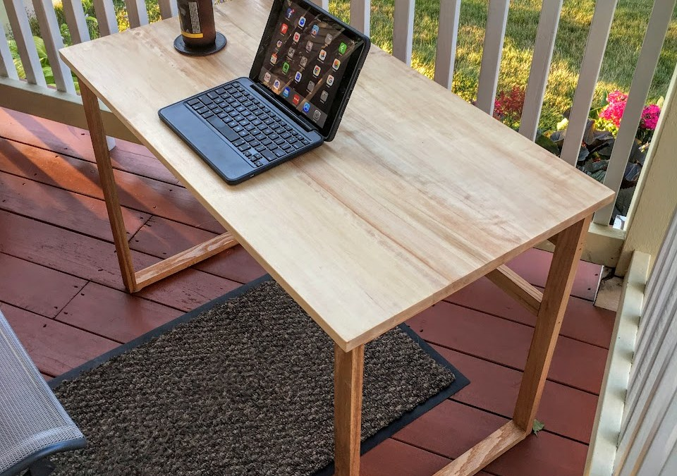 My amazing wife builds me a porch desk