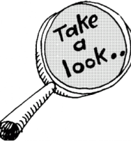 Take a look magnifying glass graphic