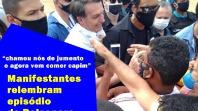 """Foto de Penaforte-Ce: """"chamou nós de jumento e agora vem comer capim""""; manifestantes relembram episódio de Bolsonaro"""