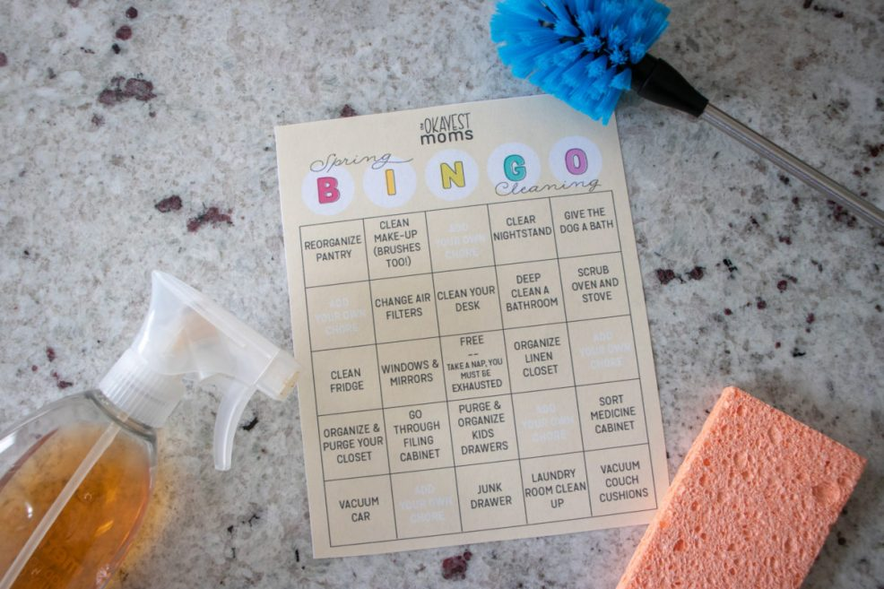 spring cleaning challenge bingo card with cleaning supplies