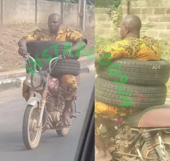 An innovative motorcyclist spotted, today, at Idi ape, Ibadan