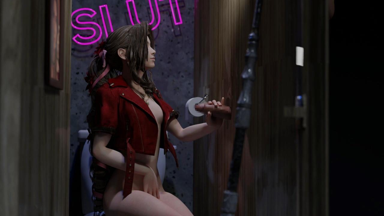 [ファイナルファンタジーVII リメイク] エアリスが公衆トイレでグローリーホール 3DCG 02