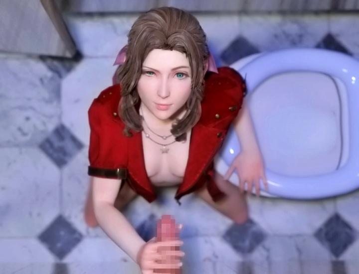 【FF7R】エアリスさん、公衆トイレのグローリーホール(壁穴)でフェラチオのバイトしてしまう…。
