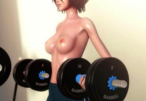 【BLEACH】朽木ルキアがジムで筋トレ→膣トレする3Dアニメ!引き締まったスレンダーボディがエッロい!!