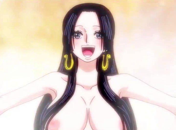 【剥ぎコラアニメ】ワンピースで乳首解禁!? ボア・ハンコックの温泉シーンを全裸に改造!