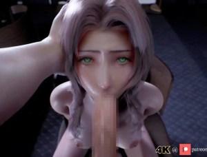 【3Dエロアニメ】エアリスさん、巨根を喉の奥まで突っ込まれて食道ザー飲に挑戦してしまう・・・・。(FF7R)