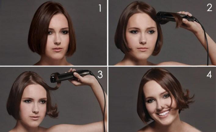 chica planchándose el cabello corto