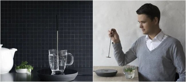 Contnedor para calentar agua en una taza