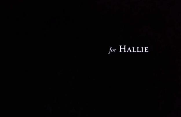 fondo negro con las palabras For Hallie