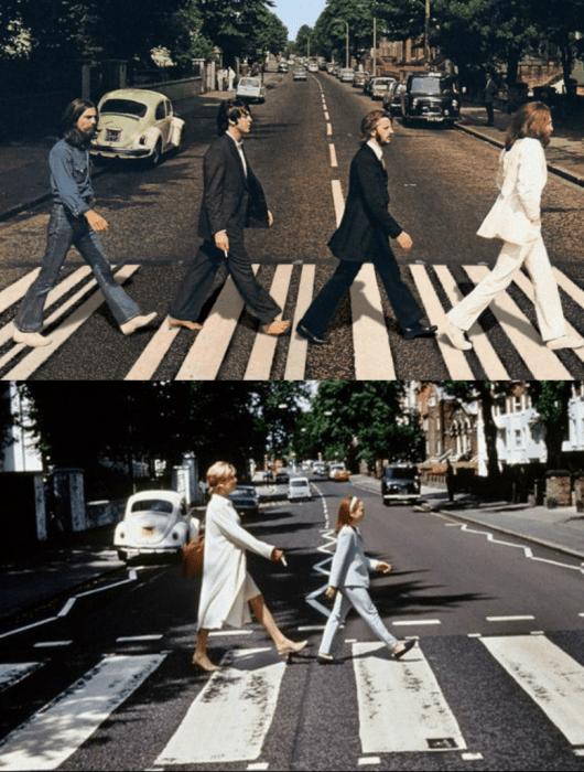 hombres, mujer y una niña cruzando la calle beatles