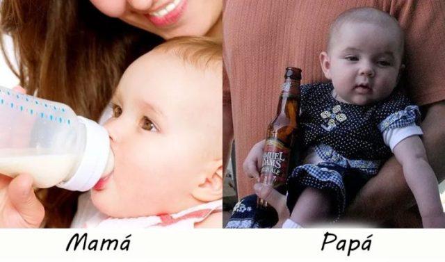 Dándole de beber al bebé