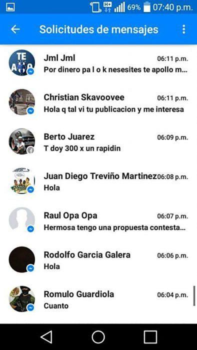 captura de pantalla con mensajes de inbox