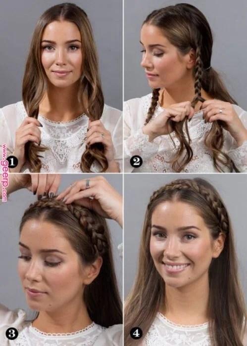 Chica haciendo un tutorial de cómo hacer una corona de trenzas al frente