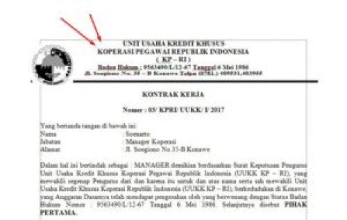 Contoh Surat Kontrak Kerja Karyawan Koperasi