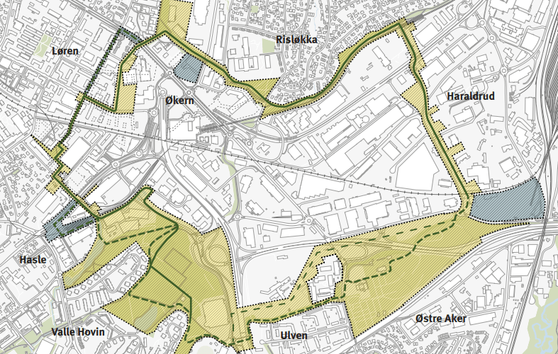 Den grønne ringen er en planlagt gang- og sykkelforbindelse på rundt 6,5 km i hjertet av Hovinbyen. Den går gjennom utviklingsområdene på Løren, Økern, Haraldrud, Ulven og Hasle,samt eksisterende grøntområder på Valle Hovin, Østre Aker kirkegård og Risløkka. Mange avdisse stedene kan det være vanskelig å komme til i dag, og Den grønne ringen skal bidra til åbinde områdene bedre sammen med hverandre og gjøre eksisterende og nye grøntområder letttilgjengelig