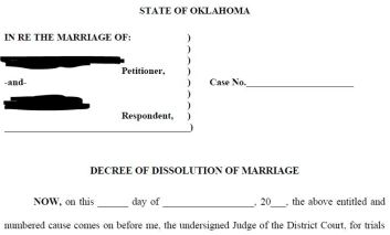 uncontested divorce decree