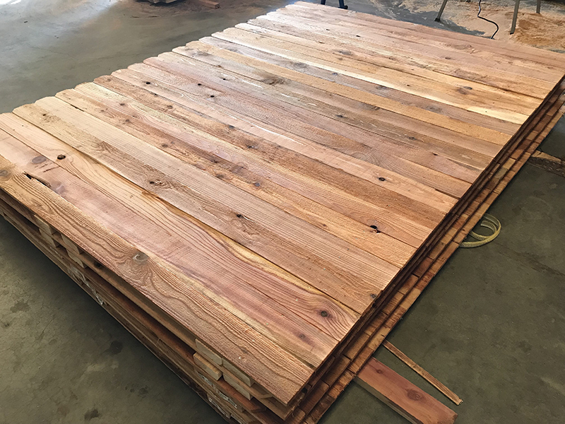 1x4x6x8 Western Red Cedar Fence Panels Stacked Top View