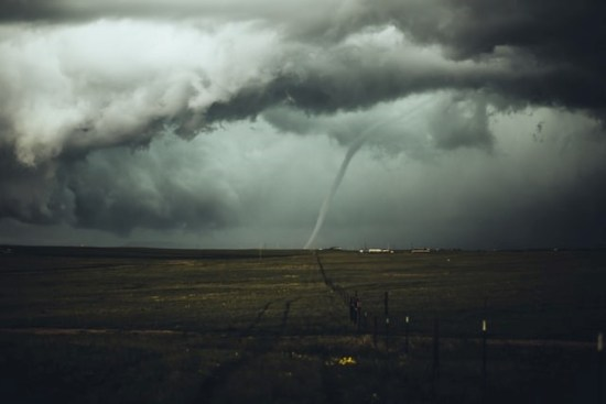 A tornado in the countryside.