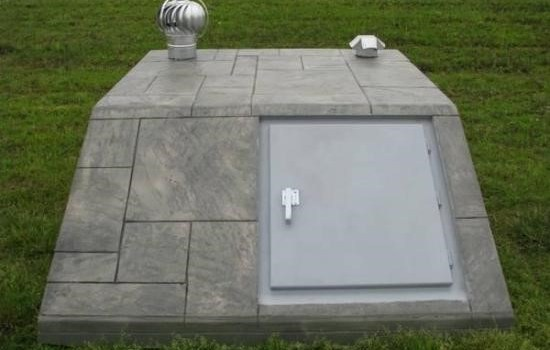 A concrete storm shelter installed in a home in Oklahoma