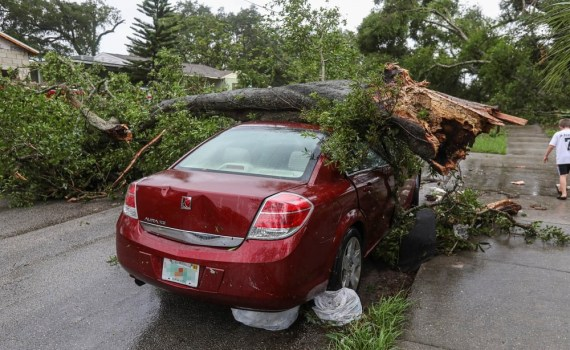 A tornado that destroyed a car in Oklahoma City.