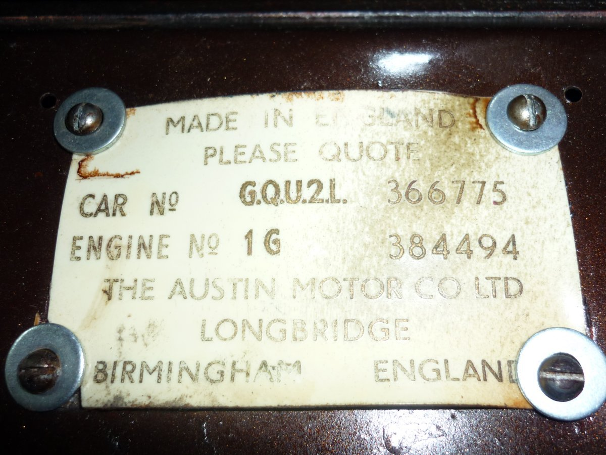 Lee's 49 Austin serial number plate - Copy