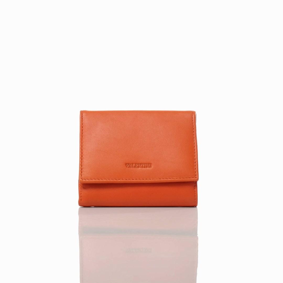 Art. 7708 Portafogli arancione vera pelle donna