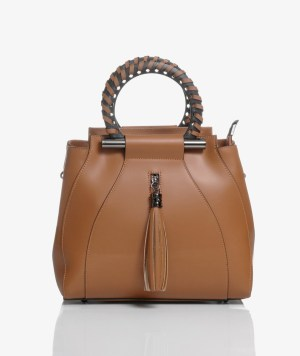 Borsa bauletto in pelle marrone