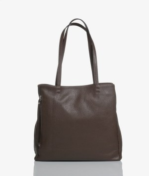 Sac plat bag in pelle marrone