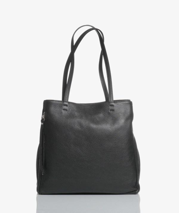 Sac plat bag in pelle nera