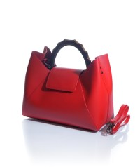 borsa rossa manici rigidi in vera pelle