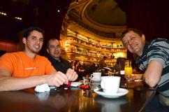 Avec des amis argentin, dans un ancien théatre transformé en café-librairie