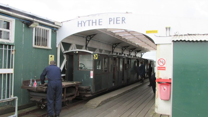 """New forest jetée de Hythe : le petit """"pier train"""""""