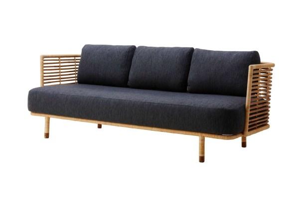 Cane-Line - Sense 3 pers. sofa - Natur/mørk